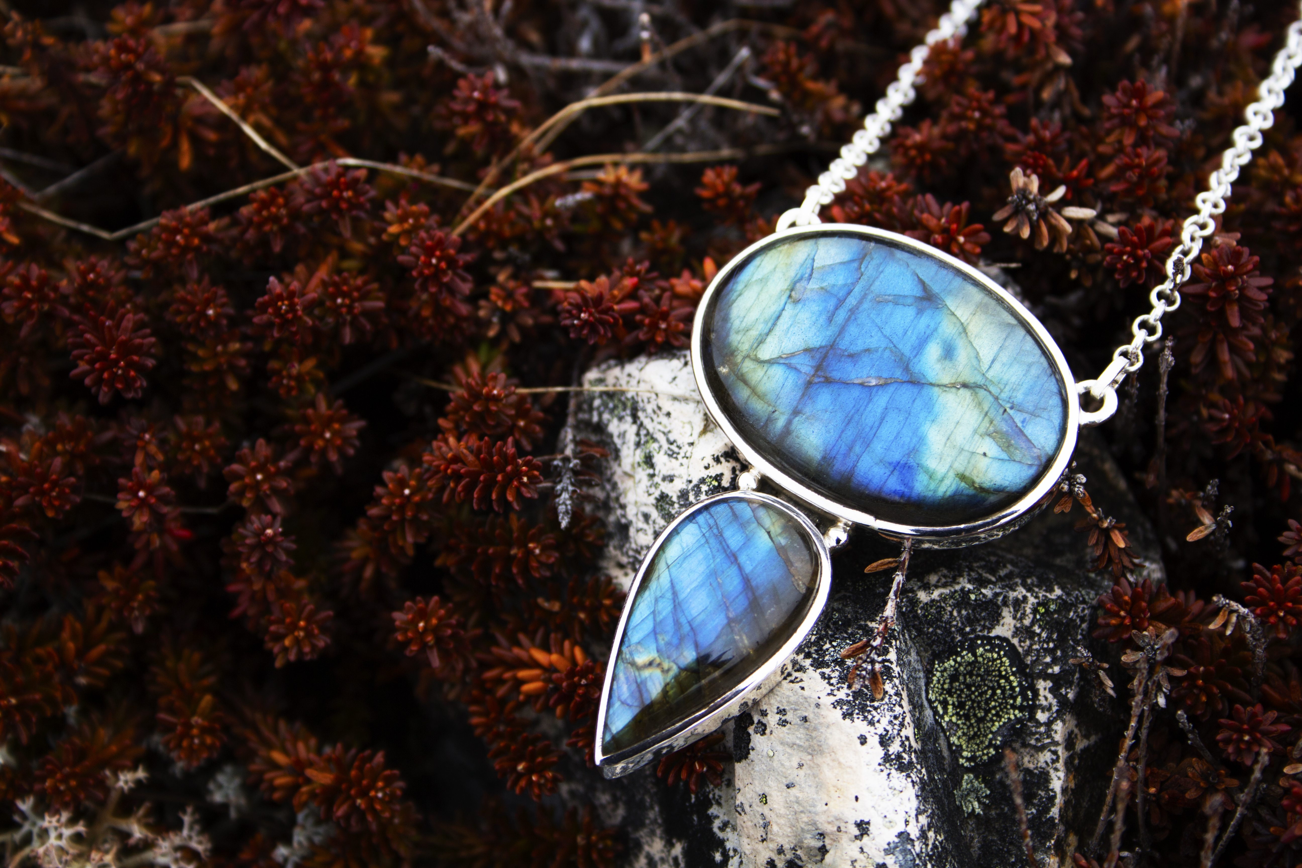 Labradorite Two Stone Necklace