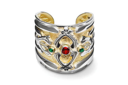 The Abbey Cuff with Green Topaz and Red Garnet