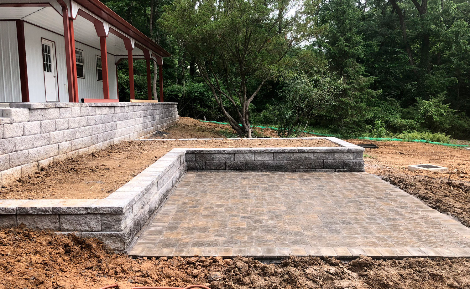 hardscape patio, site planning, land clearing