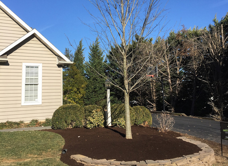 landscaping, tree planting, retaining wall, mulching