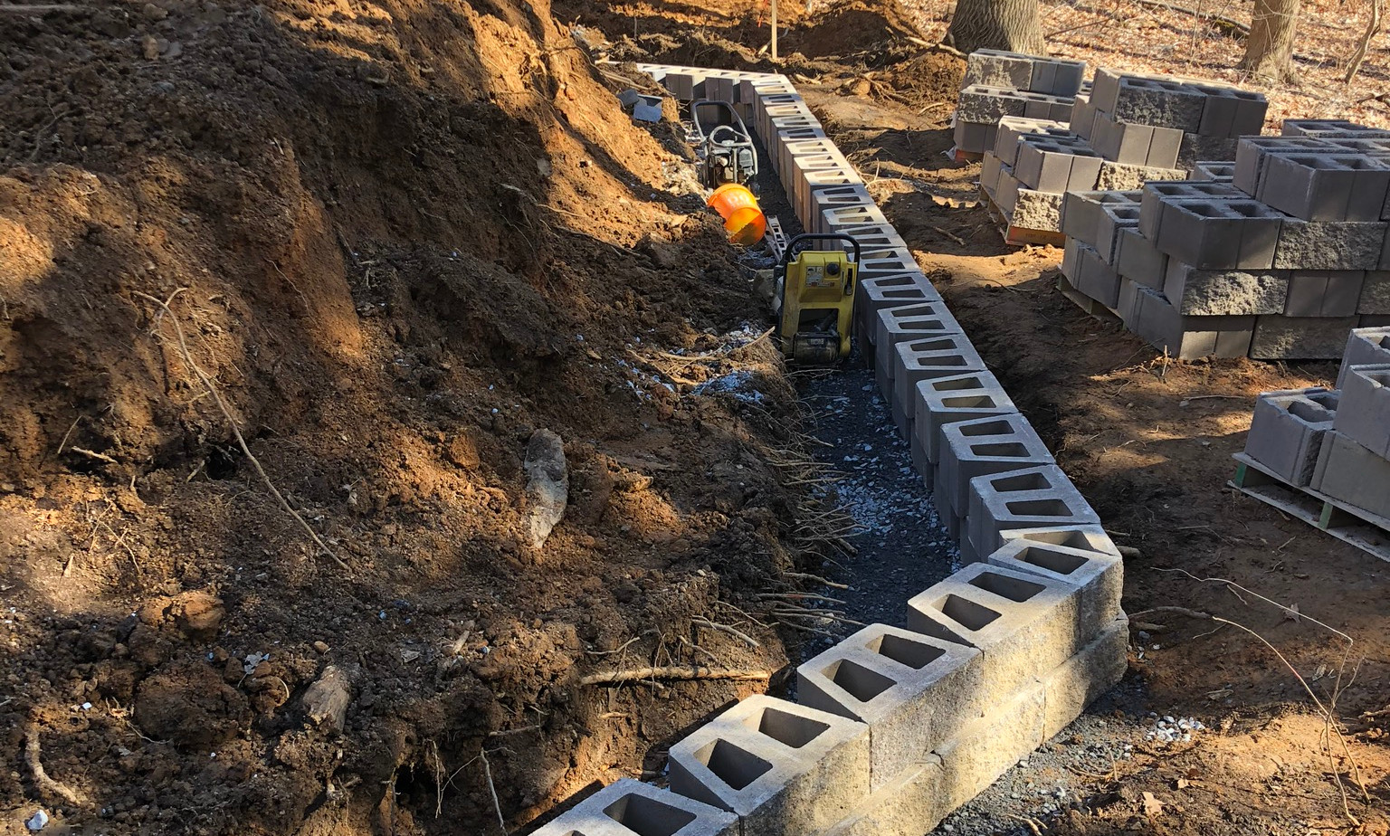 excavation, site planning, retaining wall