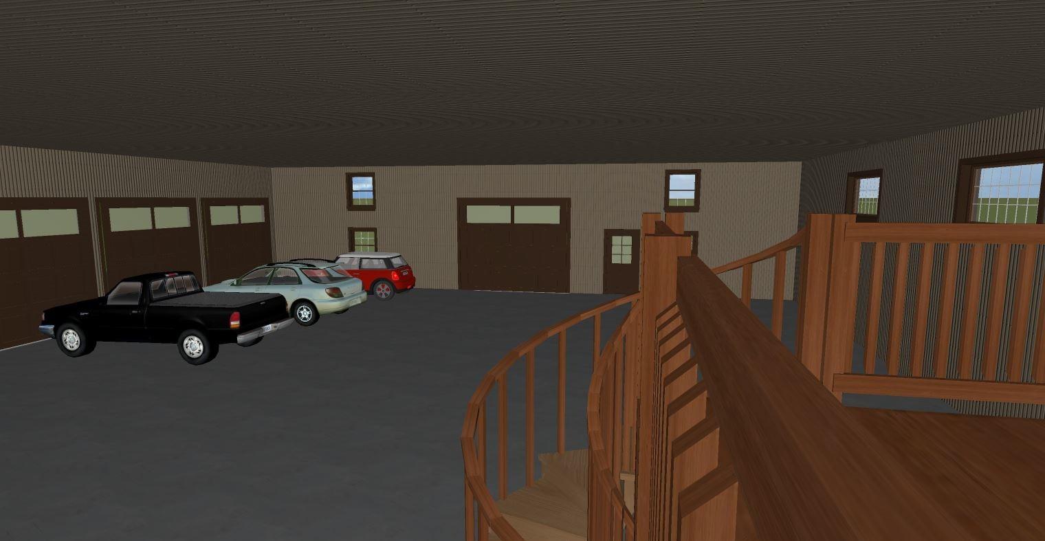 pole building, site planning, 3D rendering