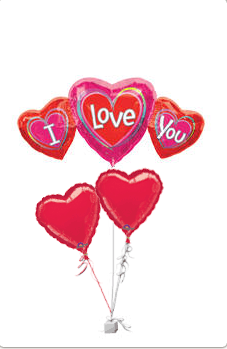 I Love You  - set of 5 heart shaped balloons