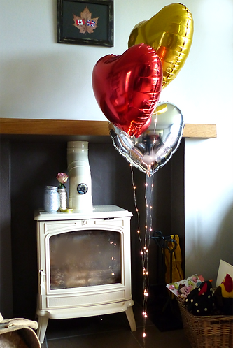 Heart Shaped Balloons ( Red, Gold,Silver) with Lights