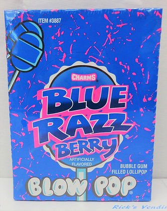 Charms Blue Razz Berry Blow Pops Suckers 48 Ct.