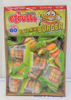 Efrutti Sour Mini Burger Gummi Candy 60 Ct.