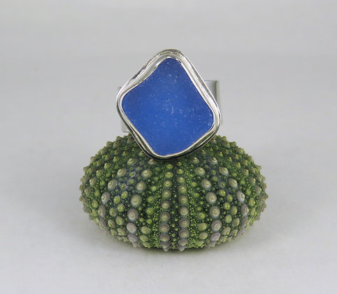 666. Cornflower Blue Sea Glass Ring