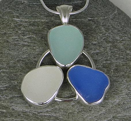 563. Cornflower, Seafoam and White Sea glass Pendant