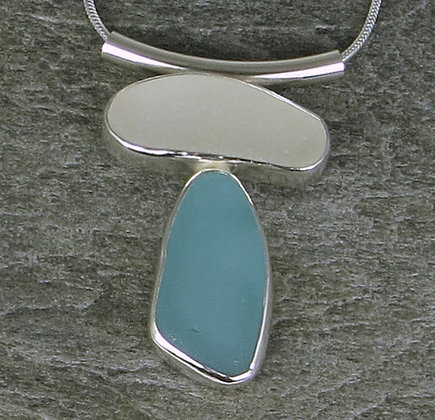 576. White and Aqua Sea Glass Pendant