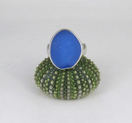 601. Cornflower Blue Sea Glass Ring