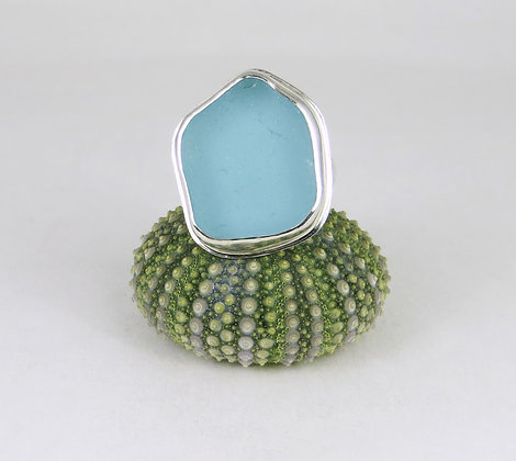 683. Large Aqua Sea Glass Ring