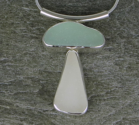 580. Seafoam and White Sea Glass Pendant