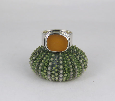 639. Golden Yellow English Sea Glass Ring
