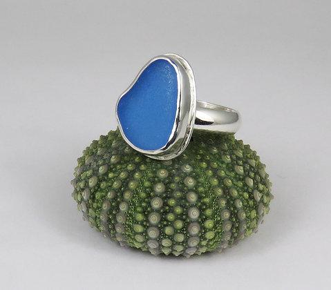 644. Cornflower Blue Sea Glass Ring