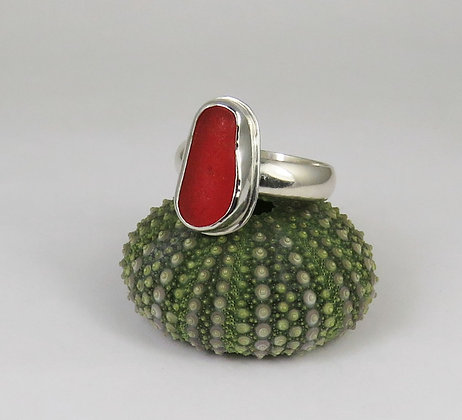 655. Bright Red Sea Glass Ring