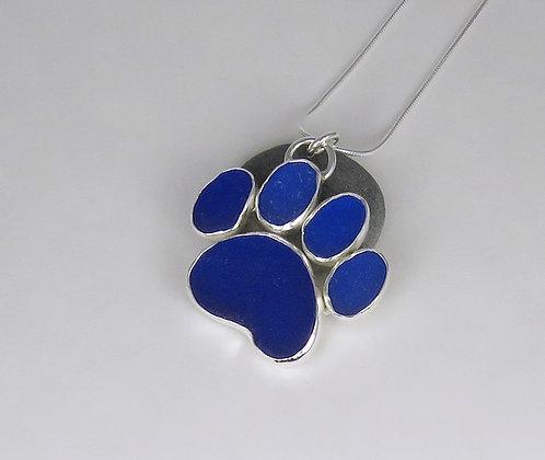 500. Cobalt Blue Dog Paw Print Sea Glass Pendant