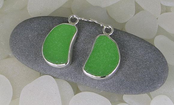 110. Bright Emerald Green Sea Glass Earrings.