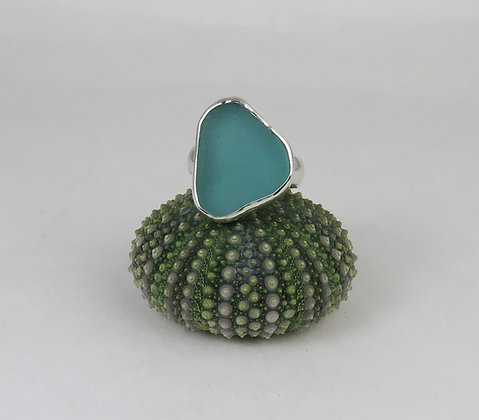 619. Aqua Sea Glass Ring