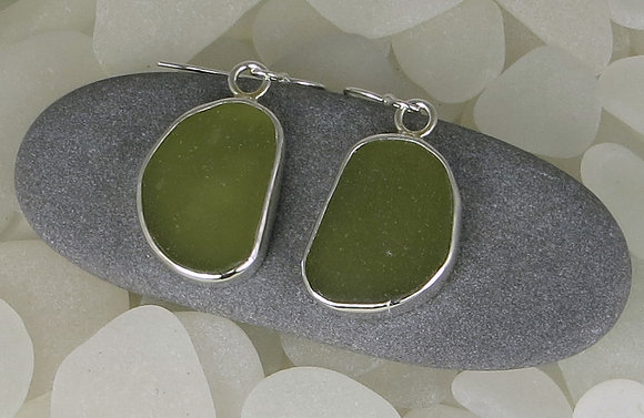 125. Olive Green Sea Glass Earrings.