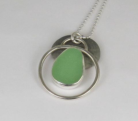 505. Seafoam Green Sea Glass Pendant