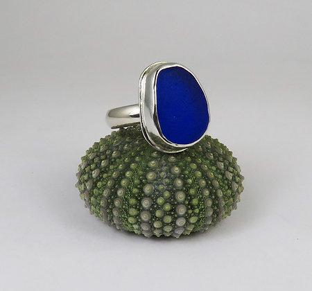630. Cobalt Blue Sea Glass Ring