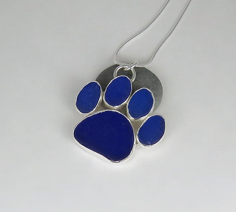 5001. Cobalt Blue Dog Paw Print Sea Glass Pendant