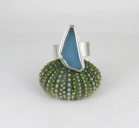 603. Cornflower Blue Sea Glass Ring