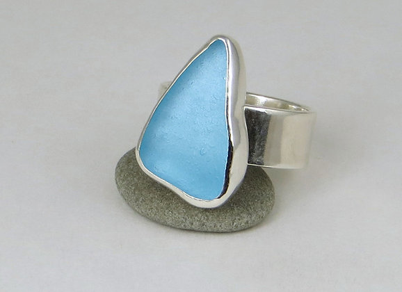 #674. Electric Blue Sea Glass Ring