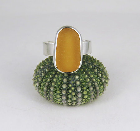 623. Golden Yellow Sea Glass Ring