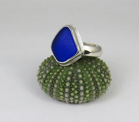 656. Cobalt Blue Sea Glass Ring