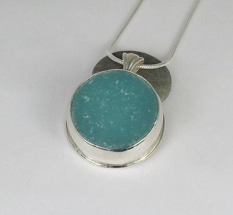509. Aqua Bottle Bottom Sea Glass Pendant