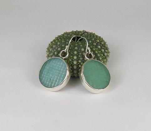 109. Aqua Ohajiki Sea Glass Earrings