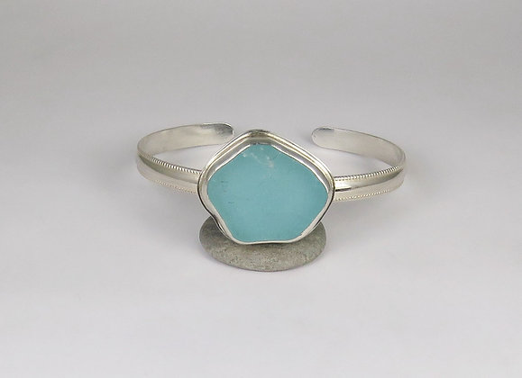 906. Bright Aqua Sea Glass Cuff Bracelet