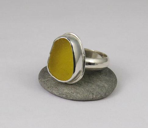 625. Bright Yellow Sea Glass Ring