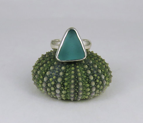 616. Aqua Sea Glass Ring