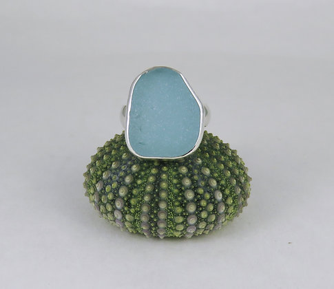 633. Soft Baby Blue Sea Glass Ring