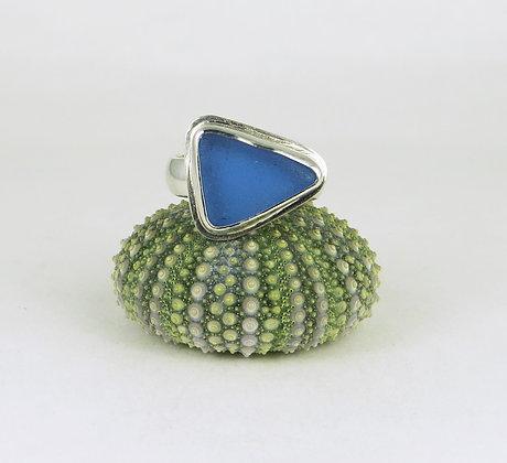 678. Cornflower Blue Sea Glass Ring