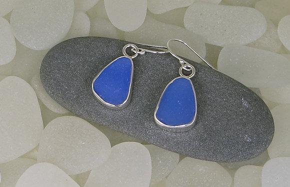 113. Cornflower Blue Sea Glass Earrings