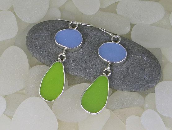 138. Cornflower Blue and Green Sea Glass Earrings