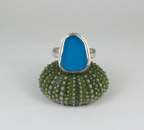 653. Turquoise Sea Glass Ring