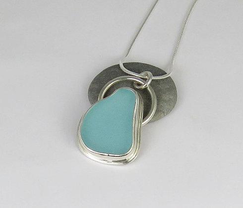 504. Aqua Sea Glass Pendant