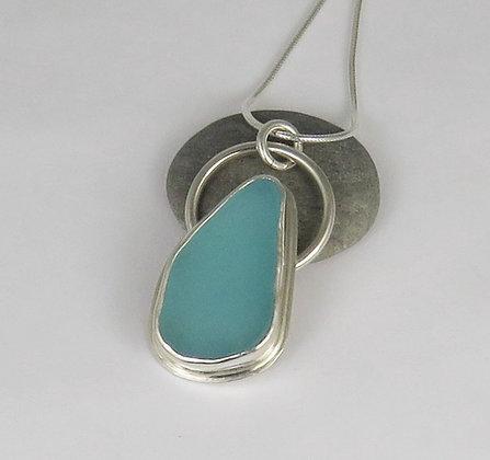 508. Aqua Sea Glass Pendant