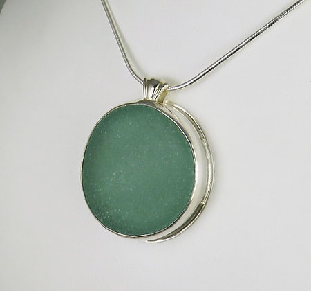 521.Giant Teal Sea Glass Pendant