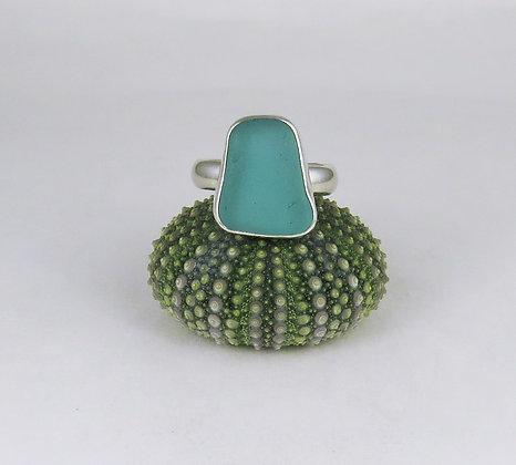 612. Aqua Sea Glass Ring