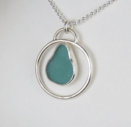 512. Aqua Teal Sea Glass Pendant