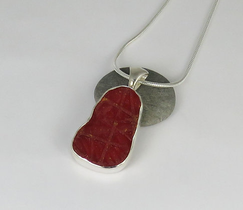 506. Large Red Sea Glass Pendant