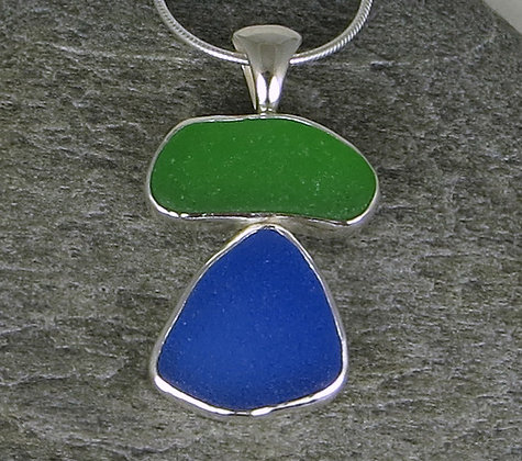 577. Green And Blue Sea Glass Pendant