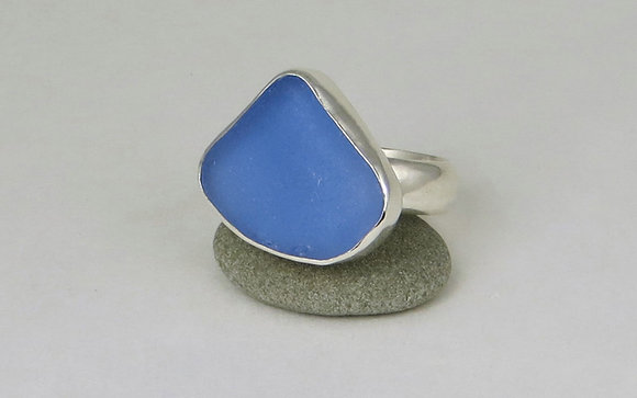 #657. Cornflower Blue Sea Glass Ring