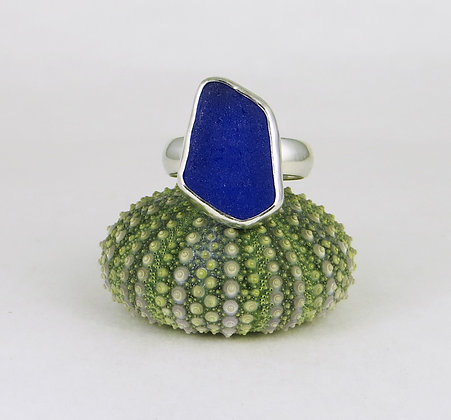 676. Cobalt Blue Sea Glass Ring