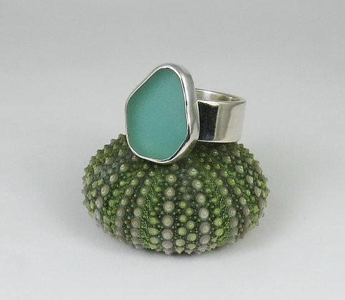 646. Aqua Sea Glass Ring